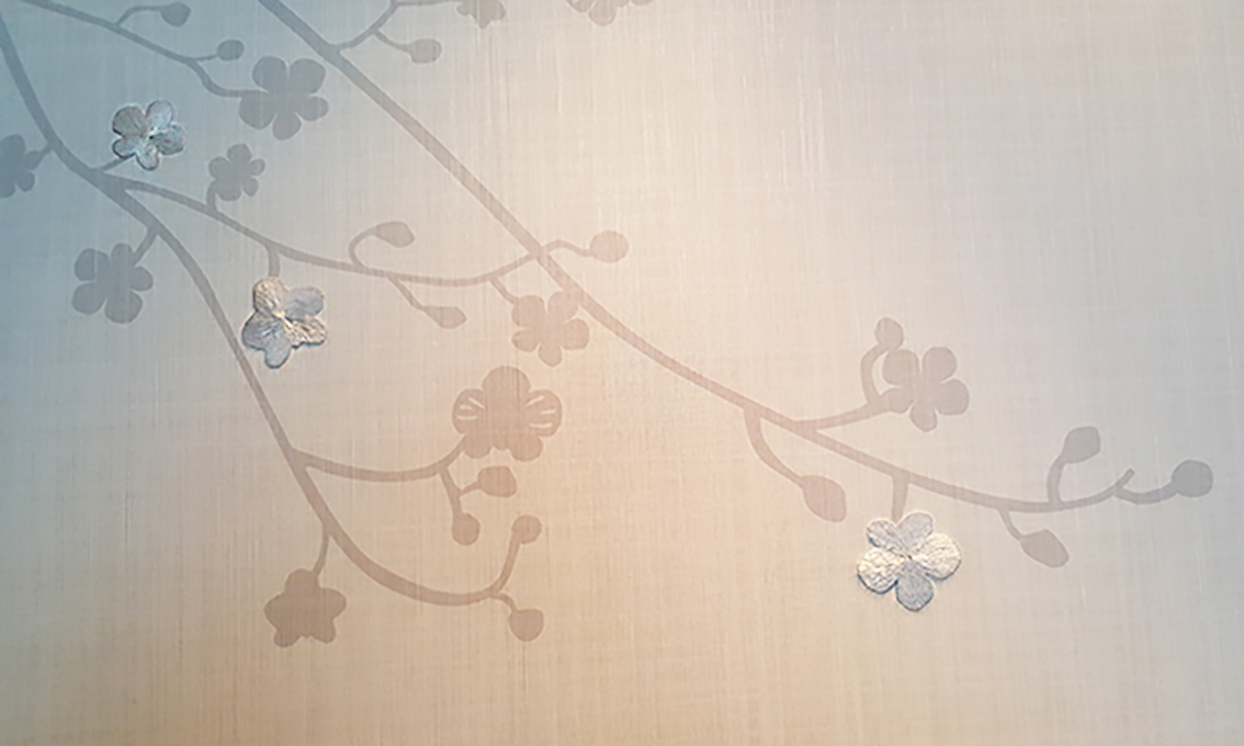 Wall coverings with hand embroidered plum blossoms in suite